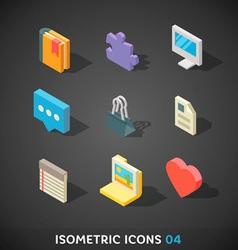 Flat Isometric Icons Set 4 vector image