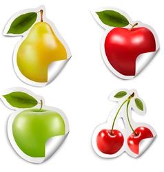 Set of flat fruit stickers vector
