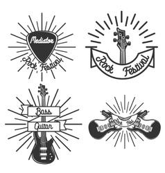 Set of vintage rock emblems vector image