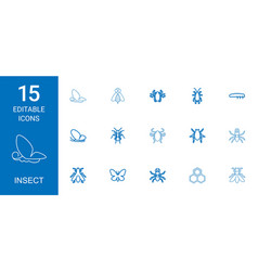15 insect icons vector