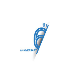 6 anniversary blue cut style isolated on white vector