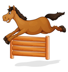 A horse jump on wooden fence vector