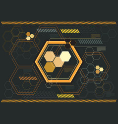 Abstract yellow hexagon digital graphic gray vector