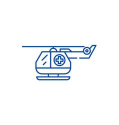 ambulance helicopter line icon concept ambulance vector image