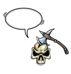 axe in skull-100 vector image