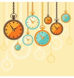 Background with retro watches in flat style vector