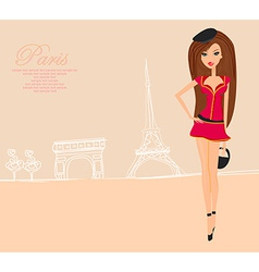 Beautiful fashion women Shopping in Paris card vector