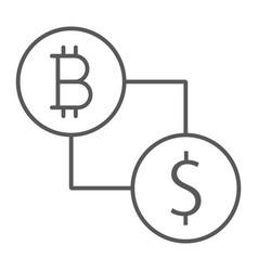 bitcoin vs dollar thin line icon finance money vector image