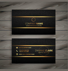 black and gold premium business card design vector image