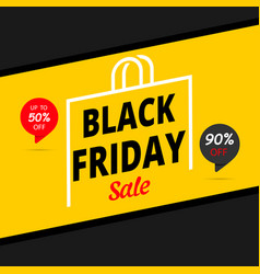 black friday sale banner or poster 90 off 50off vector image
