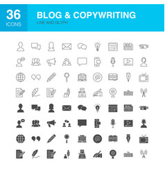 blog line web glyph icons vector image