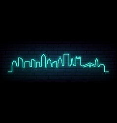 blue neon skyline pittsburgh city bright vector image