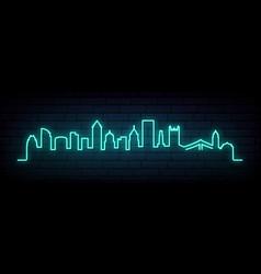 Blue neon skyline pittsburgh city bright vector