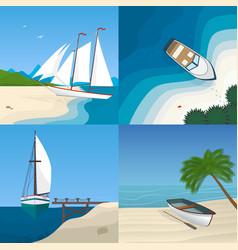 boat by the sea flat vector image