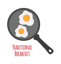 breakfast - fried egg on pan flat style vector image