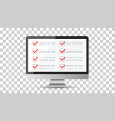 businessman checklist with computer check list vector image