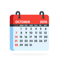 Calendar for 2018 year full month october icon vector