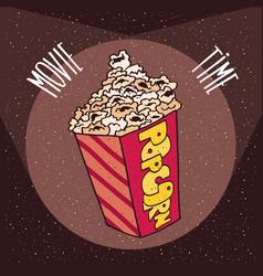 cardboard box with popcorn in beams spotlights vector image