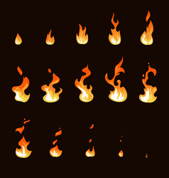 cartoon fire flame sheet sprite animation vector image