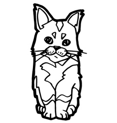 Cat Coloring Page isolated on white vector image