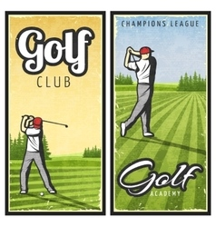Colorful Vintage Golf Vertical Banners vector