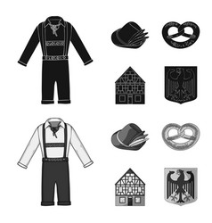 country germany blackmonochrom icons in set vector image