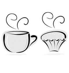 cup of tea and cake vector image