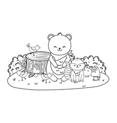 cute bear in trunk woodland character vector image