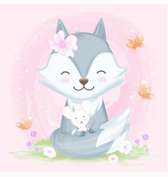 Cute wolf hugging with mouse hand drawn animal vector