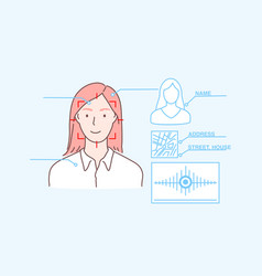 Data protection face id biometric scan security vector