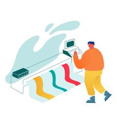 Designer using widescreen offset printing machine vector