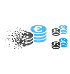 Disappearing pixelated halftone euro coin stacks vector