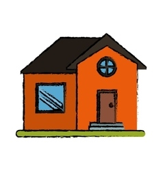 Drawing orange house home property round window vector