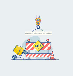 error 404 page with road construction signspage vector image