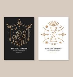 Esoteric symbols poster flyer thin line vector