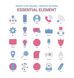 essential element icon dusky flat color - vintage vector image