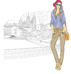 Fashion stylish girl in the old city vector