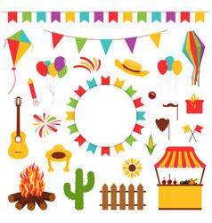 Festa junina festival decorative elements vector