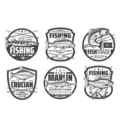 fisher club camping fishing tours big fish catch vector image