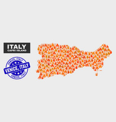 Flame mosaic capri island map and grunge venice vector