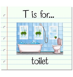 Flashcard letter T is for toilet vector