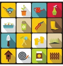 Gardening icons set in flat style vector image