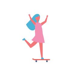 Girl riding on skateboard in park cartoon icon vector