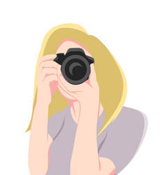 girl taking photos with camera flat design icon vector image