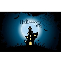 Grungy Halloween Party Background with Haunted vector image