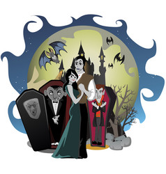 Halloween gothic party with vampire couple fun vector