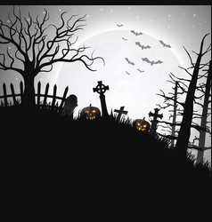 halloween night background with pumpkin in hill vector image