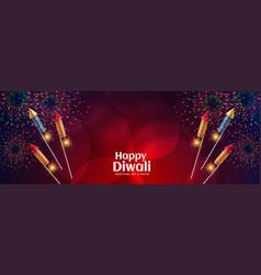 Happy diwali celebration firework with bursting vector