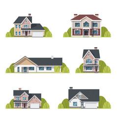 houses set suburban houses exterior flat design vector image