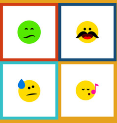 icon flat expression set of sad cold sweat vector image